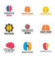 creative brain work logo set flat style vector image