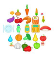 dietary products icons set cartoon style vector image vector image