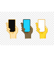 different color hand gesture comic style icon vector image vector image