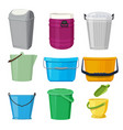 different containers and buckets vector image vector image
