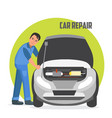flat horizontal banner for car repair services vector image