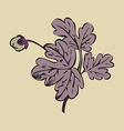 Floral bush retro on gray background hand drawn vector image