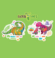 floral dinosaurs sticker set vector image vector image