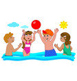 four kids playing in the water vector image