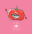 funny cartoon cute red smiling tomato vector image vector image