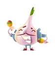 Garlic character in torero clothes smiling wildly vector image vector image