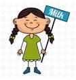 girl milk box drink vector image