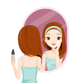 Girl Scrubbing Her Face And See Herself In Mirror vector image vector image