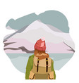 girl walking alone on a mountain trail girl looks vector image vector image