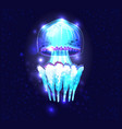 glowing transparent underwater a jellyfish vector image vector image
