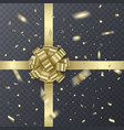 gold gift ribbon with realistic bow gift element vector image vector image