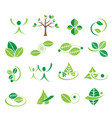 green leaves ecology logo icons set vector image vector image