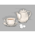 Hand drawn teapot with cup of tea vector image