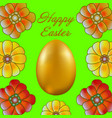 happy easter isolated on green background vector image