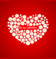 heart valentines day card white daisies on red vector image