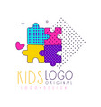 kids club logo original design bright badge for vector image vector image