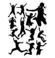 kids jumping detail silhouette vector image