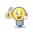 light bulb character cartoon with money bag vector image vector image