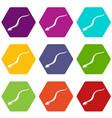 mamba snake icons set 9 vector image vector image