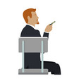 man sitting on the chair and pointing by hand vector image vector image