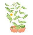 money in two hands vector image vector image