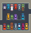 parking top view many cars on parking zone vector image vector image