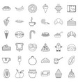 pastry shop icons set outline style vector image vector image