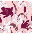 pink lily seamless pattern design botanical vector image vector image