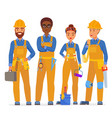 professional construction workers specialists vector image vector image