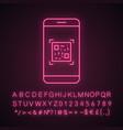 qr code scanning smartphone app neon light icon
