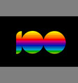 rainbow color colored colorful number 100 logo vector image vector image