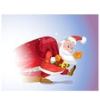 Santa Claus hurries from the travel with gifts vector image vector image