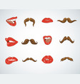 set lady lips and gentleman mustaches vintage vector image vector image
