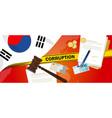 south korea fights corruption money bribery vector image vector image