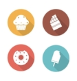 Sweets flat design icons set vector image vector image