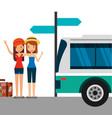 two cute girls tourists with suitcase in the bus vector image vector image