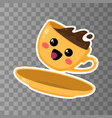 yellow cup kawaii coffee on a transparent vector image vector image