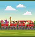 kids on train over landscape vector image