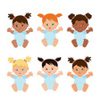 multiethnic baby girls set vector image