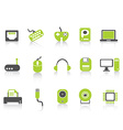 computer device icons set green series vector image