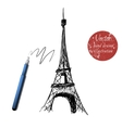 eiffel tower isolated on white background vector image