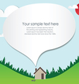 Paper cut home and landscape vector image