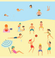 people relaxing on the beach vector image