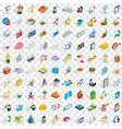 100 startup icons set isometric 3d style vector image vector image