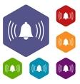 Alarmclock rhombus icons vector image vector image