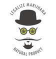 banner for legalize marijuana with hipster man vector image vector image