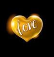big golden heart on a black background vector image