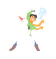 boy throwing snowball and a snowman vector image