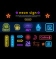 bright colorful advertising neon signs set vector image vector image