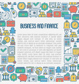 business and finance concept with thin line icons vector image vector image